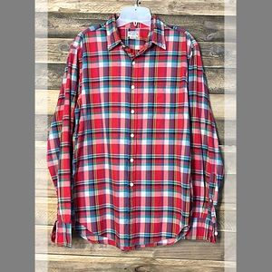 J. Crew summer plaid shirt in reds and blues